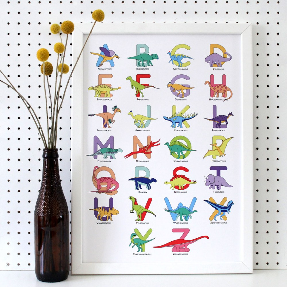 Large Letter Dinosaur Alphabet Poster Print - various sizes - A4, A3, A2