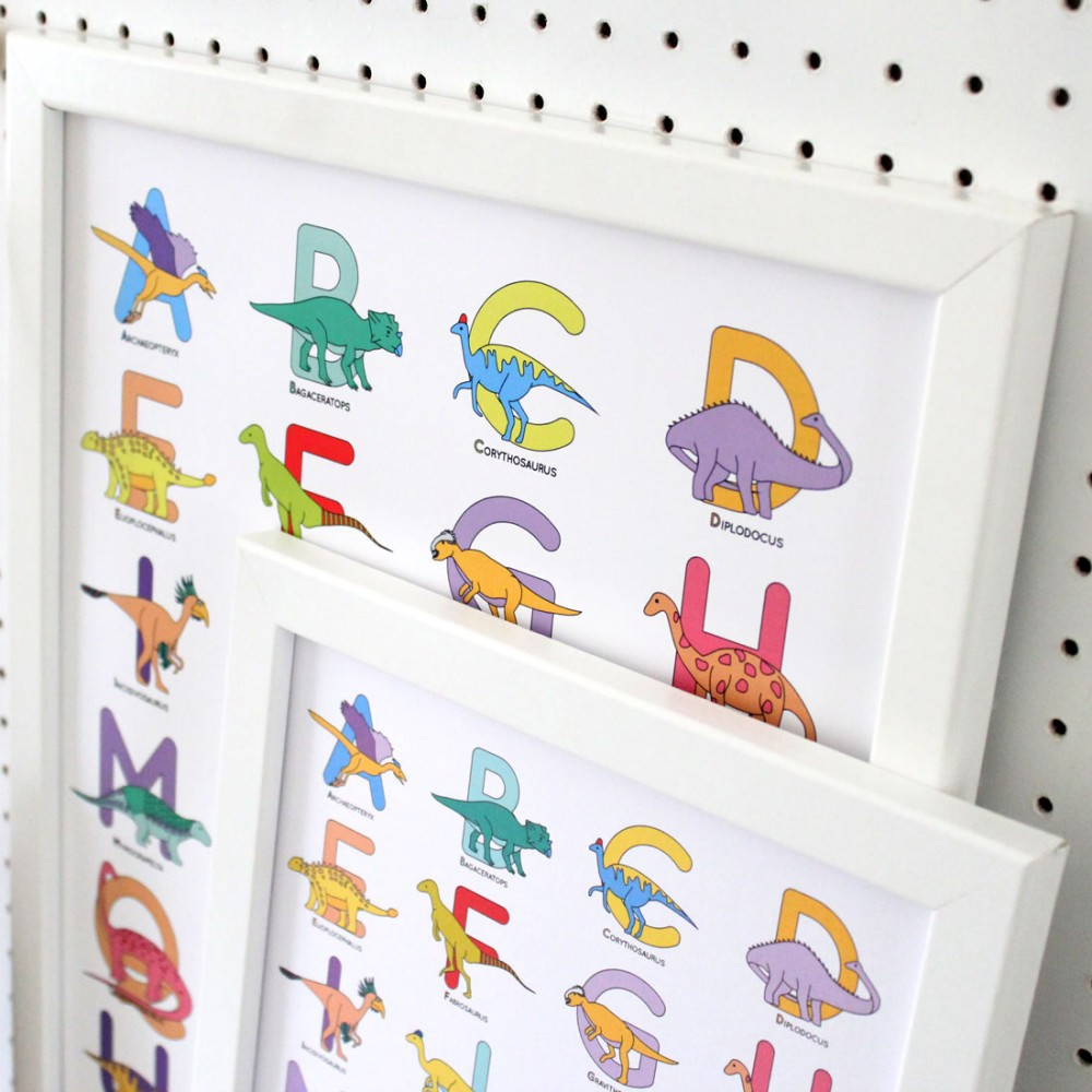 Dinosaur Alphabet Poster Print - various sizes - A4, A3, A2