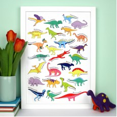 Dinosaur Alphabet Poster Print - various sizes - A4