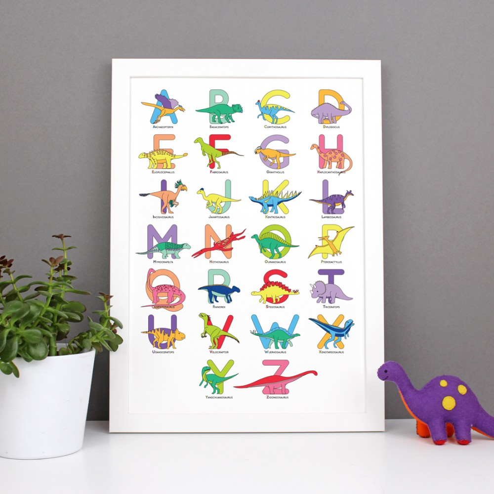 Large Letter Dinosaur Alphabet Poster Print - various sizes - A4, A3