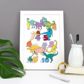 Dinosaur Number Poster Print - various sizes - A4, A3