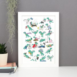 T-Rex Doing Stuff Alphabet Poster Print
