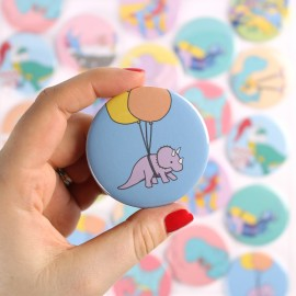 Balloon Triceratops Badge/Magnet/Keyring/Mirror