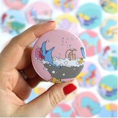 Bath Time Dinosaur Badge/Magnet/Keyring/Mirror