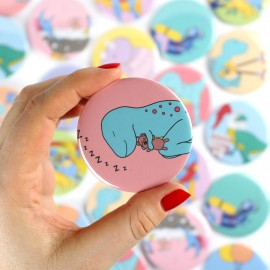 Dino-Snore Badge/Magnet/Keyring/Mirror