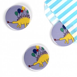 Stegosaurus Party Animal Dinosaur Badge/Magnet/Keyring/Mirror