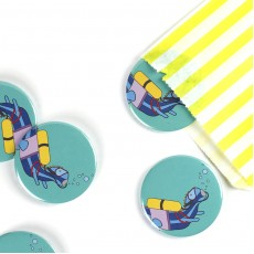 Scuba Diving Dinosaur Badge/Magnet/Keyring/Mirror