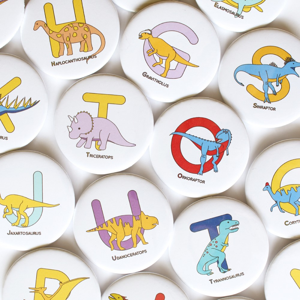 Alphabet Dinosaur Badges - 58mm