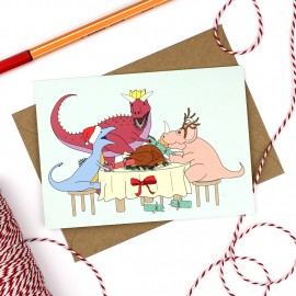 Dinner Dinosaur Christmas Greeting Card