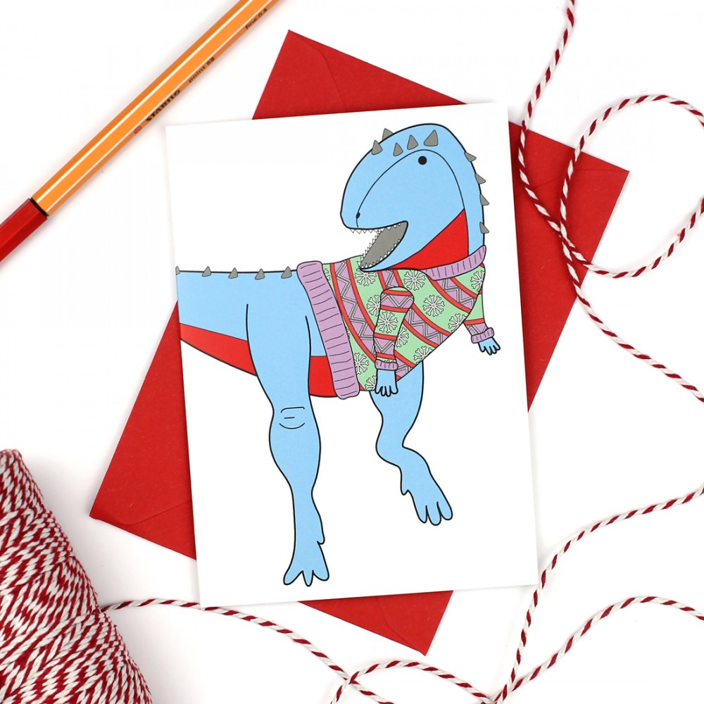 Ugly Christmas Jumper Dinosaur Greeting Card