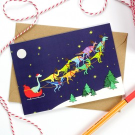 Santa's Sleigh- Dinosaurs Christmas Greeting Card