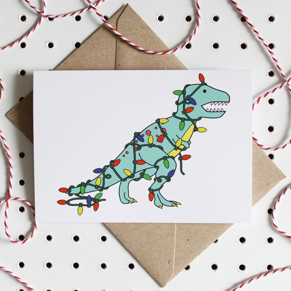 T-Rex Visiting Santa Christmas Greeting Card