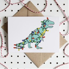 Deck the Dino - Dinosaurs Christmas Greeting Card