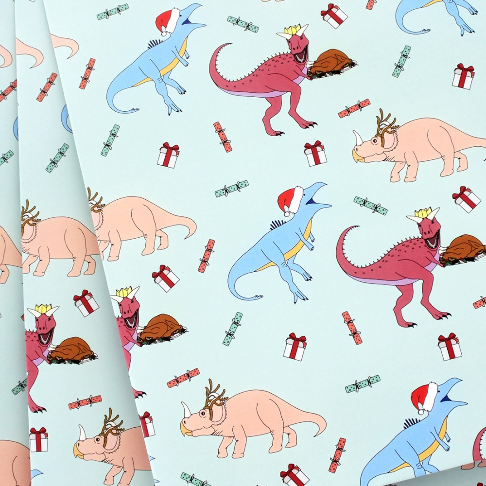 Dinosaur Christmas Dinner Wrapping Paper