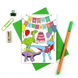 Dinosaur Birthday Party Card