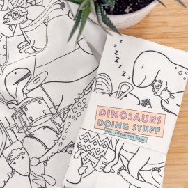 Dinosaurs Doing Stuff 100% Cotton Tea Towel
