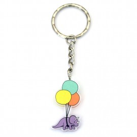 Triceratops with balloons keyring